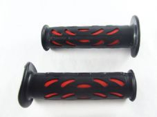 Pair black and red gel rubber motorcycle handlebar hand grips for 22mm bars